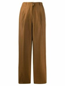 Agnona high-waisted linen trousers - Brown