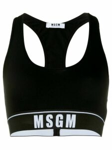 MSGM logo-jacquard cropped tank top - Black