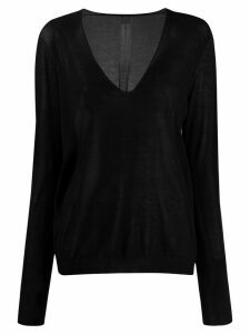 Rick Owens sheer V-neck jumper - Black