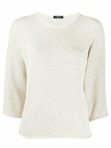 Peserico sequin-embroidered crew neck jumper - NEUTRALS