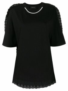 Simone Rocha pearl-embellished broderie anglaise T-shirt - Black