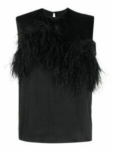 Marques'Almeida feather trimmed sleeveless blouse - Black