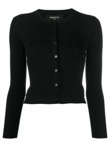 Paule Ka cropped ribbed knit cardigan - Black