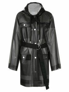 Proenza Schouler White Label striped pattern belt raincoat - Grey