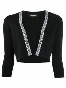 Paule Ka cropped fine knit cardigan - Black