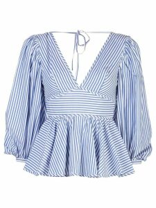 Staud striped peplum blouse - Blue
