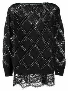 Ermanno Scervino studded cut-out detail jumper - Black