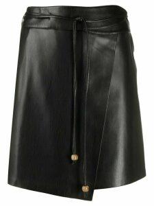 Nanushka asymmetric tie waist skirt - Black
