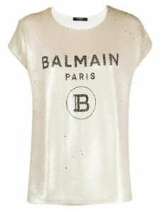 Balmain sequinned logo printT-shirt - NEUTRALS