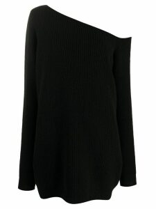 GAUGE81 oversized asymmetrical shoulder cashmere jumper - Black