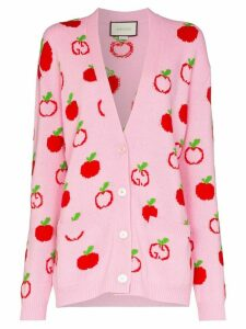 Gucci apple print knit cardigan - PINK