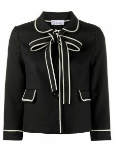 RedValentino bow detailed cropped jacket - Black
