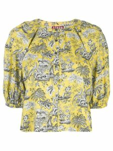 Staud printed cropped blouse - Yellow