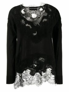 Ermanno Scervino floral lace detail asymmetric blouse - Black