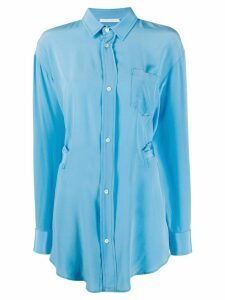 Société Anonyme long length patch pocket silk shirt - Blue