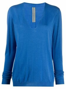Rick Owens V-neck fine knit jumper - Blue