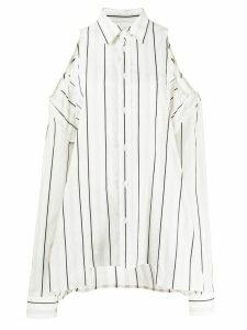Maison Margiela off-the-shoulder striped shirt - White