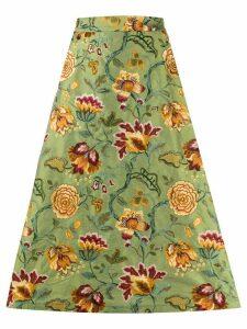 Société Anonyme A-line embroidered floral skirt - Green