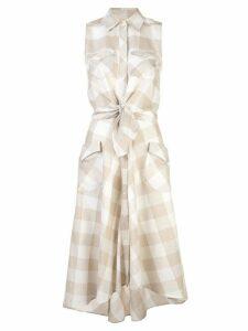 Sara Roka knotted sleeveless midi dress - NEUTRALS