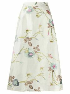 Société Anonyme A-line embroidered floral skirt - White