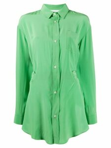 Société Anonyme long length patch pocket silk shirt - Green