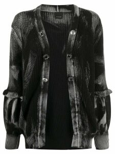 Pinko ruffled cuff dyed effect cardigan - Black