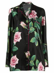 Dolce & Gabbana Tropical rose print shirt - Black