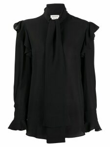 Alexander McQueen ruffle trim blouse - Black