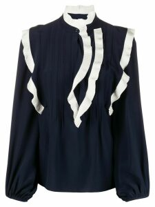Chloé ruffle-trimmed silk blouse - Blue