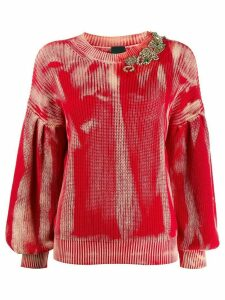 Pinko embellished dyed effect jumper - Red