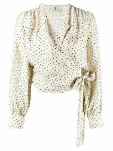 L'Autre Chose apostrophe print wrap blouse - NEUTRALS