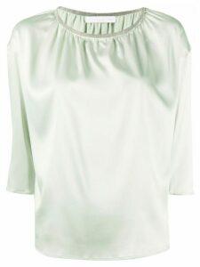 Fabiana Filippi gathered neck cropped sleeve blouse - Green