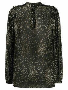 Luisa Cerano irregular polka-dot long-sleeved shirt - Black