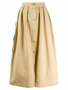 Erika Cavallini button down pleated skirt - NEUTRALS