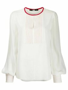 Karl Lagerfeld stitched bib detail blouse - White
