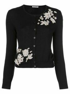 Oscar de la Renta floral motifs crystal-embellished cardigan - Black