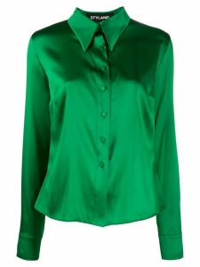 Styland pointed-collar silk shirt - Green