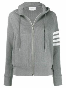 Thom Browne 4-bar striped zip-up hoodie - Grey
