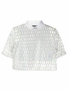 Philipp Plein mesh skull print crop top - White