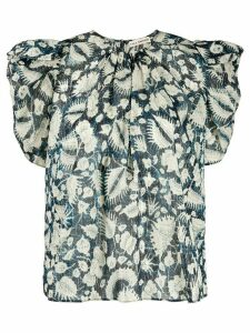 Ulla Johnson foliage print ruffle sleeve blouse - Blue