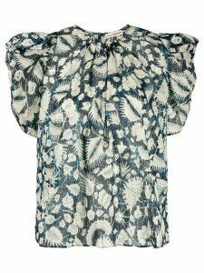 Ulla Johnson foliage print ruffle sleeve blouse - Blue
