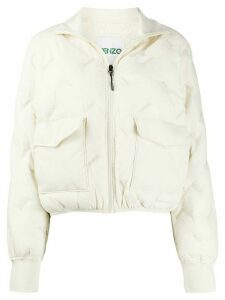 Kenzo logo embroidered padded light jacket - NEUTRALS