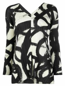 Pleats Please Issey Miyake paint print pleated blouse - Black