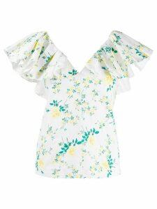 Philosophy Di Lorenzo Serafini floral print ruffle sleeve top - White