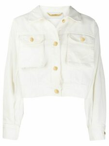 Alberta Ferretti cropped denim jacket - White