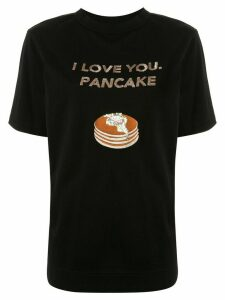 Tu es mon TRÉSOR 'I love you, pancake' sequined T-shirt - Black