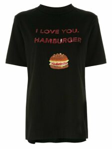Tu es mon TRÉSOR 'I love you. Hamburger' sequined T-shirt - Black