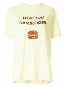 Tu es mon TRÉSOR 'I love you. Hamburger' sequined T-shirt - Yellow