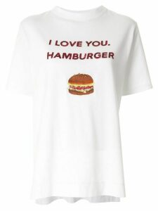 Tu es mon TRÉSOR 'I love you. Hamburger' sequined T-shirt - White