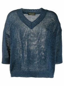 Roberto Collina v-neck crocheted jumper - Blue
